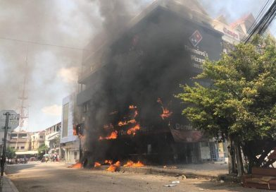 Two Injured As Domino's Burns
