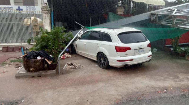 Falling Kampot Province Billboard Damages Audi